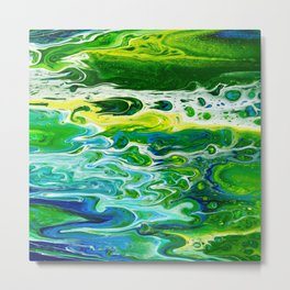Blue waves and green grass Metal Print