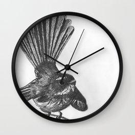 New Zealand fat fuzzy fantail Wall Clock