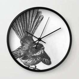 New Zealand fat fuzzy fantail Wall Clock