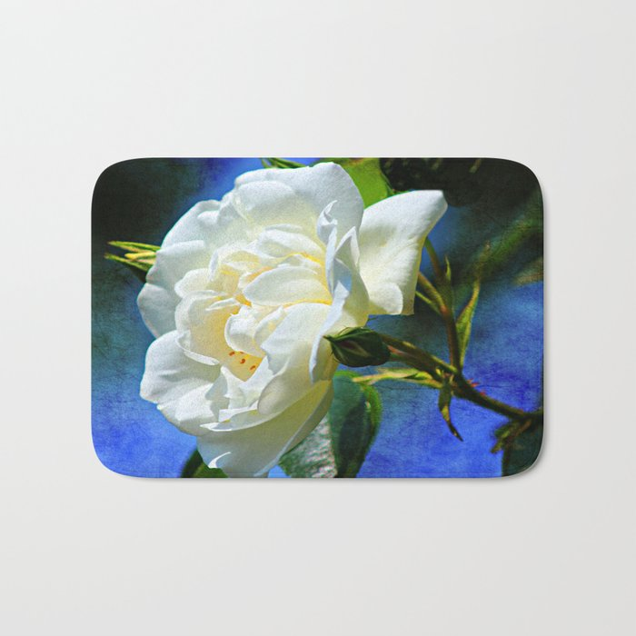 Creamy White Rose and Buds Bath Mat