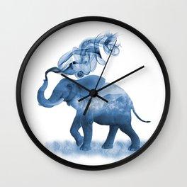 Blue Smoky Clouded Elephant Wall Clock
