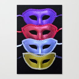 Colorful glitter costume masks Canvas Print