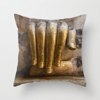 buddhism Throw Pillows featuring Golden Hand of a Buddha in Wat Sri Chum Thailand by Maria Heyens