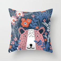 Bear Garden Throw Pillow