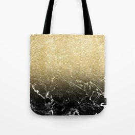Modern girly luxurious faux gold glitter black marble pattern Tote Bag
