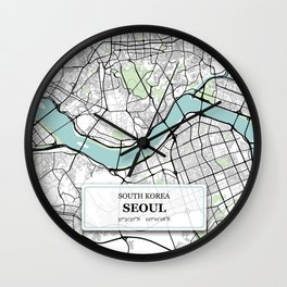 Seoul South Korea City Map with GPS Coordinates Wall Clock