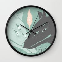 wolves Wall Clocks featuring Wolves by Kelsey King Illustration
