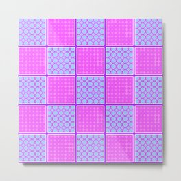 Pink Checks Metal Print