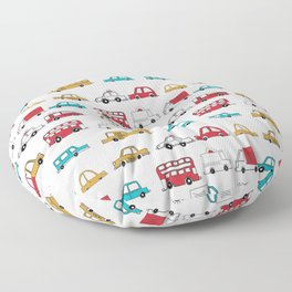 Cars trucks buses city highway transportation illustration cute kids room gifts Floor Pillow