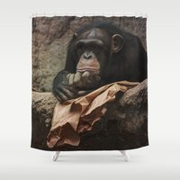 newspaper Shower Curtains featuring bored chimpanzee after reading newspaper by UtArt