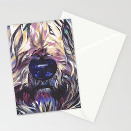 Wheaten Terrier Fun Dog Portrait bright colorful Pop Art Painting by LEA Stationery Cards