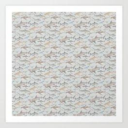 Watercolour shark pattern on pale blue Art Print