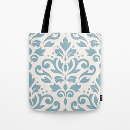 Scroll Damask Large Pattern Blue on Cream Tote Bag