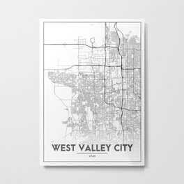 Minimal City Maps - Map Of West Valley City, Utah, United States Metal Print