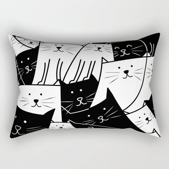 The Cats are Watching - B/W Rectangular Pillow