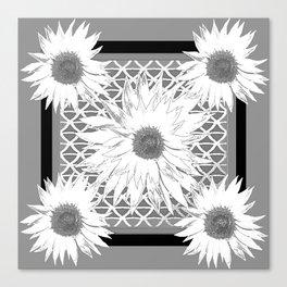 Black & white Floral  Pattern Art Canvas Print