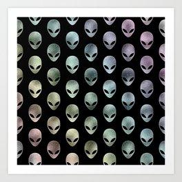 Grey Alien Rainbow Art Print