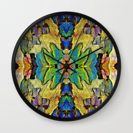 Colorful  Nature Wood Pattern Psychedelic Art Wall Clock