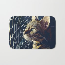 bengal cat yearns for freedom vector art foggy night Bath Mat