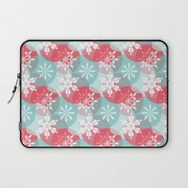 Christmas Snowflakes in Abstract Red and Blue Circles Laptop Sleeve