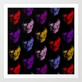 Colorful X-Ray Skulls Pattern Art Print