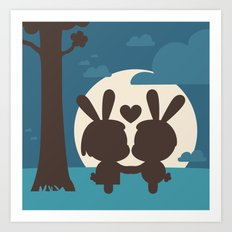 Bunnies at Moonlight Art Print
