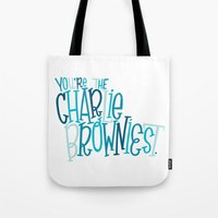 charlie brown Tote Bags featuring Charlie Browniest by Chelsea Herrick