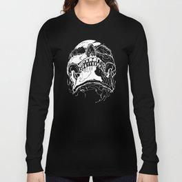 Carnibal / Ink Skull / White Long Sleeve T-shirt