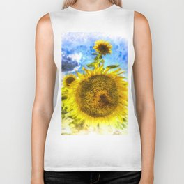 Summers Day Sunflowers Art Biker Tank