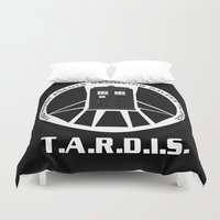 agents of shield Duvet Covers featuring Agents of TARDIS black and white Agents of Shield, Doctor Who mash up by Whimsy and Nonsense