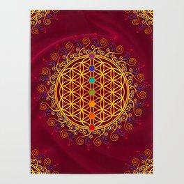 FLOWER OF LIFE, CHAKRAS, SPIRITUALITY, YOGA, ZEN, Poster