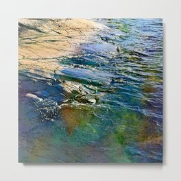 Colored sea waves licking the rock Metal Print
