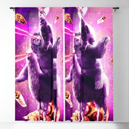 Laser Eyes Space Cat Riding Sloth, Llama - Rainbow Blackout Curtain