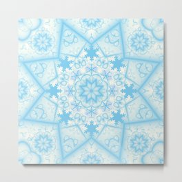 Snow star and snowflakes in winter blues Metal Print