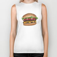 junk food Biker Tanks featuring junk food - burger by Bleachydrew