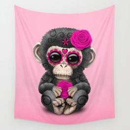 Pink Day of the Dead Sugar Skull Baby Chimp Wall Tapestry