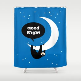 Childrens Room Illustration for Girls and Boys – Good Night Sloth Shower Curtain