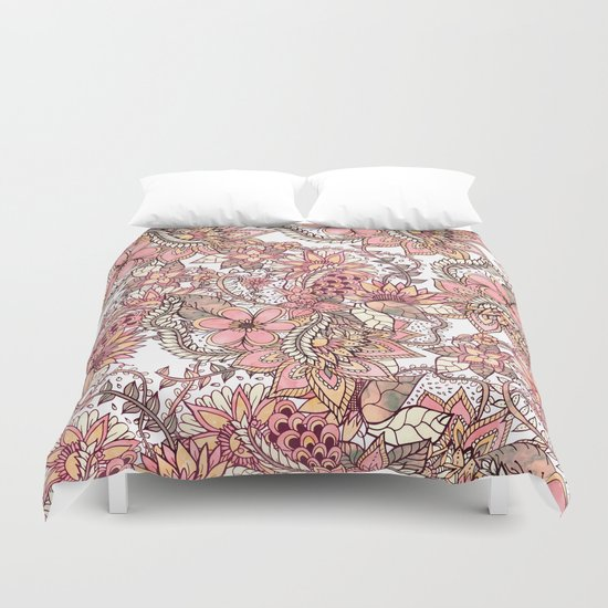 Boho chic red brown floral hand drawn pattern Duvet Cover