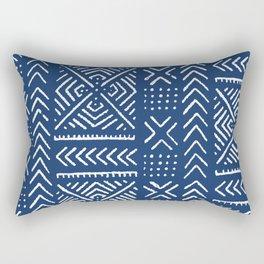 Line Mud Cloth // Dark Blue Rectangular Pillow