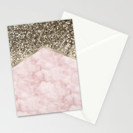 Shimmering golden chevron pink marble Stationery Cards