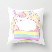 hamster Throw Pillows featuring Sweet Hamster by AquaZircon (LumiiLoup)
