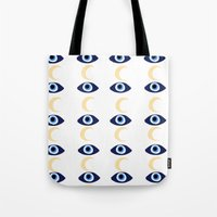 evil eye Tote Bags featuring evil eye by sabrina