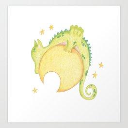 dragon & moon Art Print
