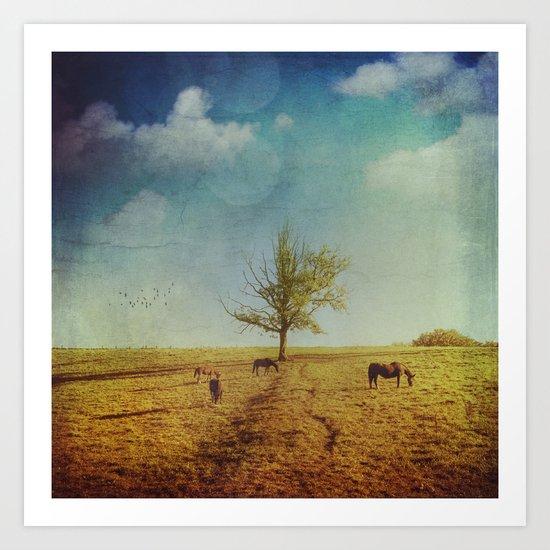Lone Tree with Horses Art Print