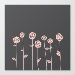 Minimalist Rose Flowers (Rose Quartz, Charcoal Black) Canvas Print