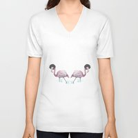 afro V-neck T-shirts featuring Afro flamingos by Iratxe González
