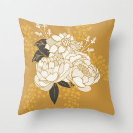 Glam Florals - Gold Throw Pillow