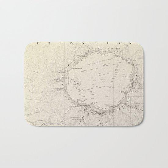 Crater Lake Vintage Map Bath Mat