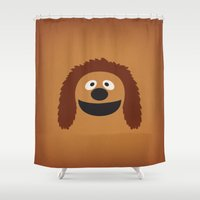 muppets Shower Curtains featuring The Muppets Show Vintage Art Rowl the Dog Retro Style Minimalist Poster Print by The Retro Inc