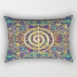 Gold Choku Rei Symbol and Reiki Precepts Rectangular Pillow